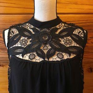Black Lace Embellished Sleeveless Top